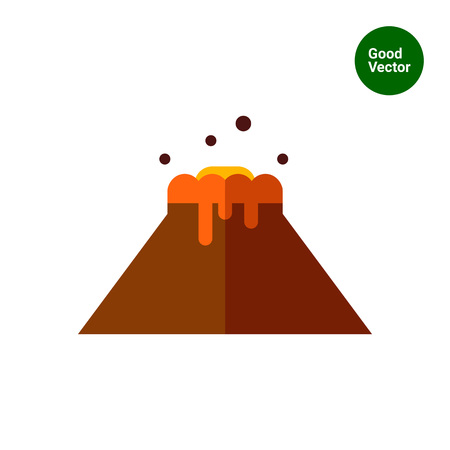 eruption: Multicolored vector icon of volcano eruption and flowing lava