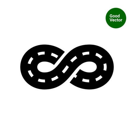 loop: Icono del vector de la carretera con la marca sinuoso en forma de signo de la eternidad