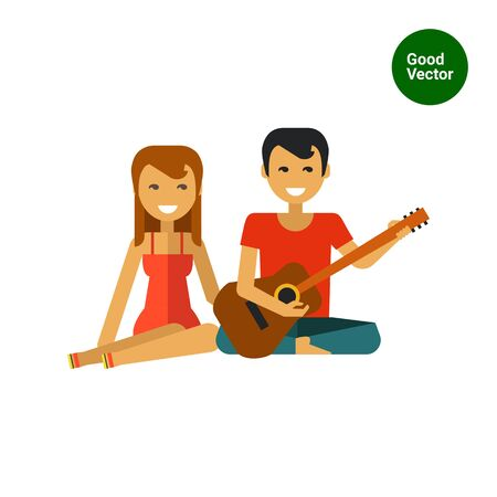 man playing guitar: Multicolored vector icon of woman sitting and man playing guitar Illustration