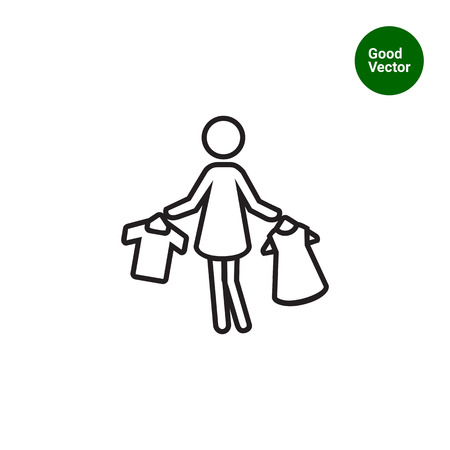 Icon of womans??s silhouette holding clothes on hangers