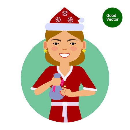medium length hair: Female character, portrait of smiling woman wearing Santa costume, holding small sack with gift Illustration