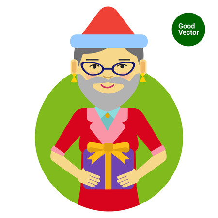 wearing santa hat: Female character, portrait of smiling woman wearing Santa hat and fake beard, holding gift box