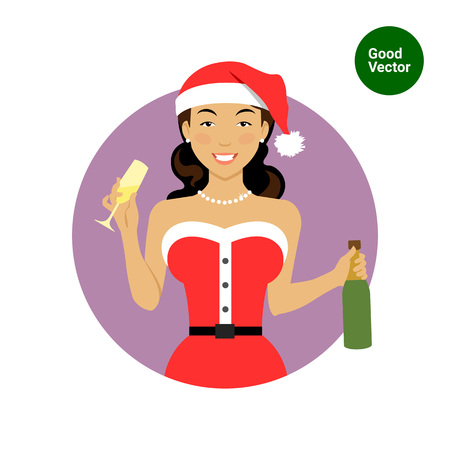 santa costume: Female character, portrait of smiling woman wearing Santa costume, holding glass and champagne bottle Illustration