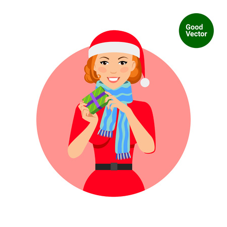 woman in scarf: Female character, portrait of smiling woman wearing Santa costume and blue scarf, holding gift box