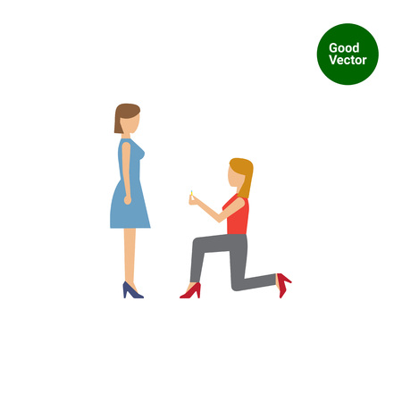 medium length hair: Icon of woman standing on her knee in front of woman and giving ring
