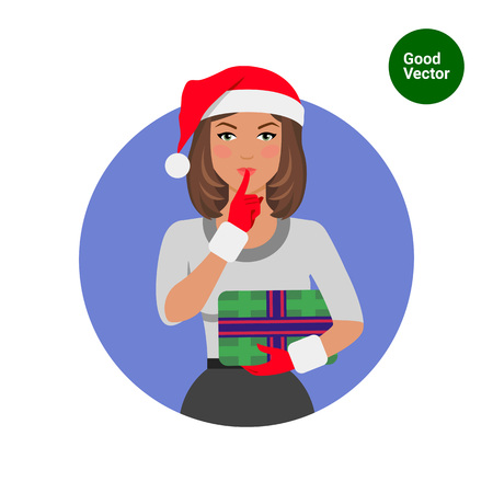 quiet: Female character, portrait of woman in Santa hat, holding gift box and showing be quiet sign Illustration