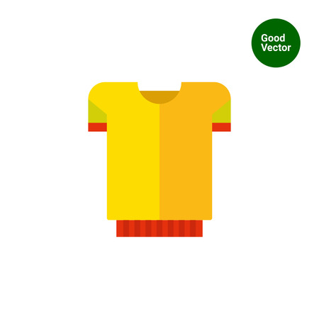 t shirt blouse: Multicolored vector icon of yellow t-shirt with red band Illustration
