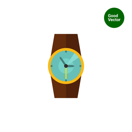 wristlet: Multicolored vector icon of wristwatch with brown wristlet