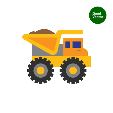 loaded: Multicolored vector icon of yellow loaded dump truck