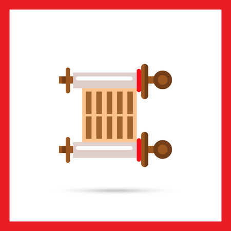 scroll of the law: Multicolored vector icon of ancient parchment scroll