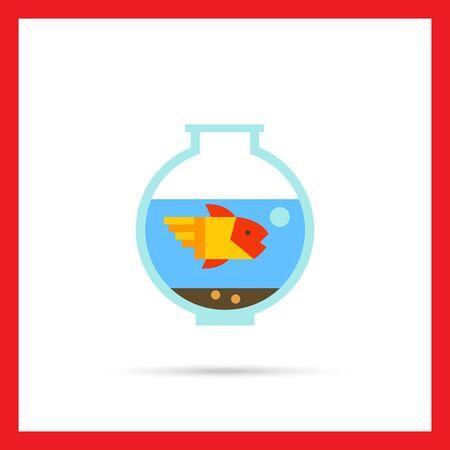 aquarium hobby: Multicolored vector icon of aquarium with goldfish
