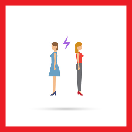 turning: Icon of two woman turning back to each other with lightning sign between them Illustration