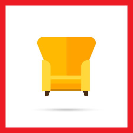 armchair: Multicolored vector icon of yellow armchair with tall backrest
