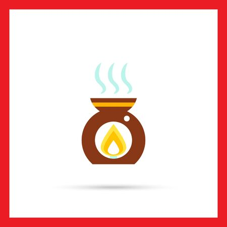 aroma: Multicolored vector icon of aroma lamp with candle