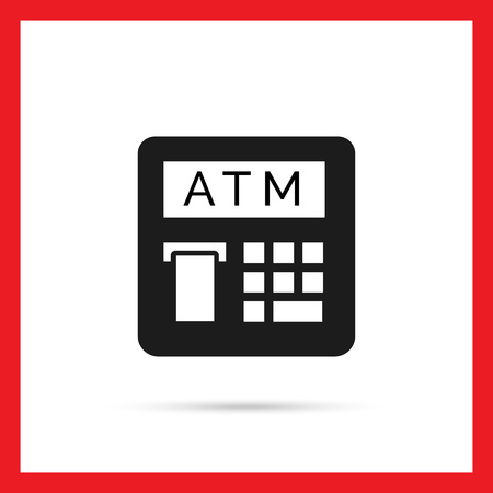 automatic teller: Vector icon of automatic teller machine with receipt