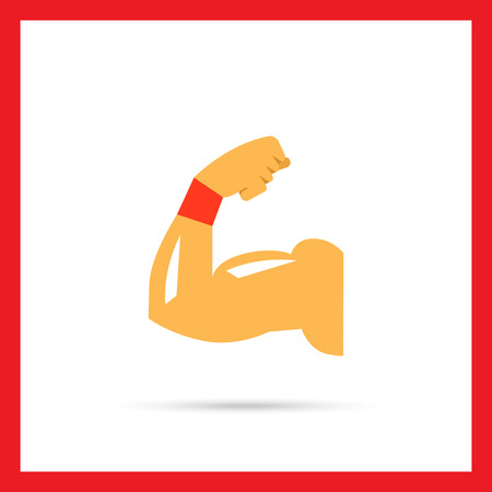 muscular control: Vector icon of man arm silhouette showing biceps muscle