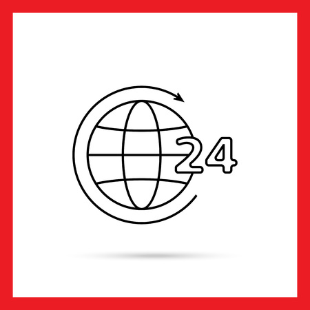 twenty four hour: Icon of 24-hour worldwide service concept, Earth globe with circle arrow and 24-hour sign