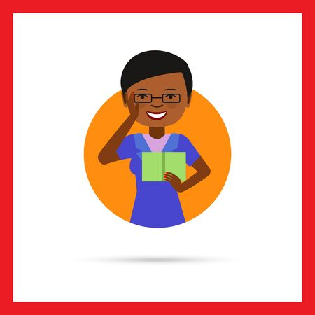 african american woman: Female character, portrait of young African American woman wearing glasses and reading book