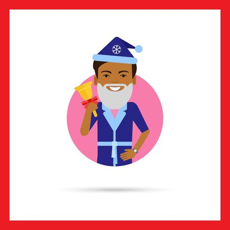handbell: Male character, portrait of African American man wearing Santa costume, holding handbell Illustration
