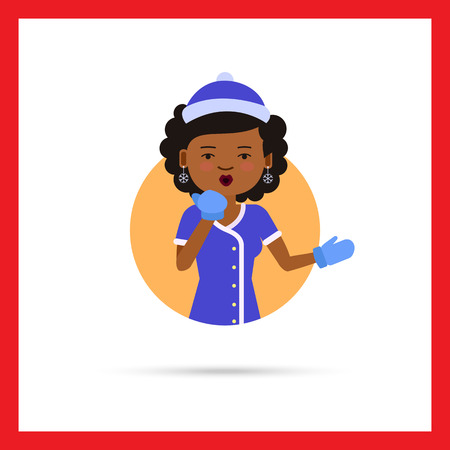 african american: Female character, portrait of African American woman wearing fancy dress, blowing kiss Illustration
