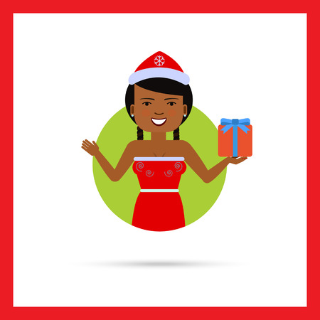red dress: Female character, portrait of smiling African American woman wearing Santa costume, holding gift box