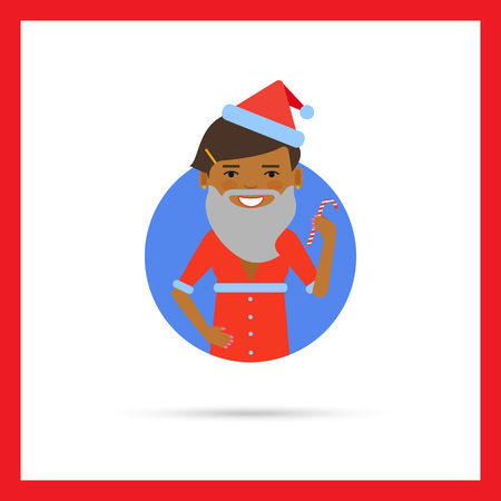 african american woman: Female character, portrait of African American woman wearing Santa costume and holding candy cane Illustration