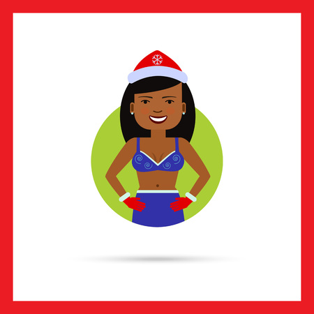 fancy dress: Female character, portrait of African American woman wearing Christmas fancy dress