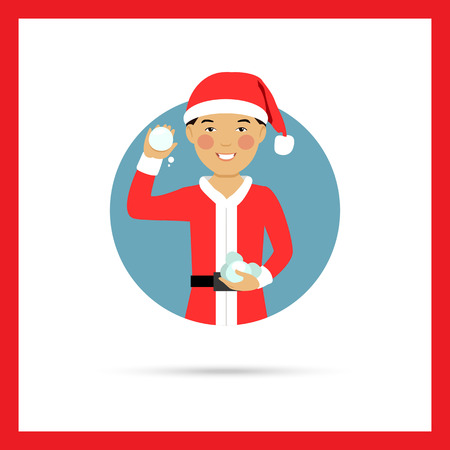 neve palle: Male character, portrait of smiling Asian teenage boy wearing Santa costume, holding snowballs Vettoriali