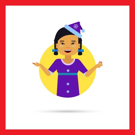 late teens: Female character, portrait of Asian teenage girl wearing blue Santa costume