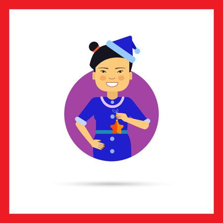 santa costume: Female character, portrait of Asian woman wearing Santa costume, holding star Illustration