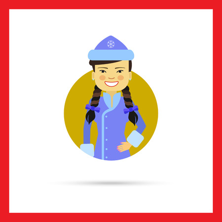 fancy dress: Female character, portrait of smiling Asian woman wearing blue fancy dress with hat Illustration