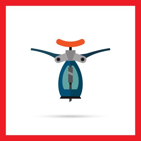bottle screw: Multicolored vector icon of blue automatic corkscrew