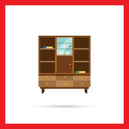glass door: Multicolored vector icon of bookcase with closed glass door and books, cups on shelves