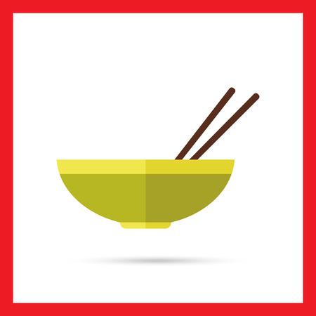 chopsticks: Icon of bowl and chopsticks Illustration