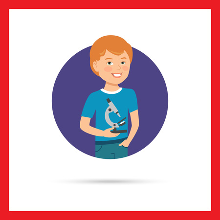 t shirt blue: Male character, portrait of smiling boy holding microscope