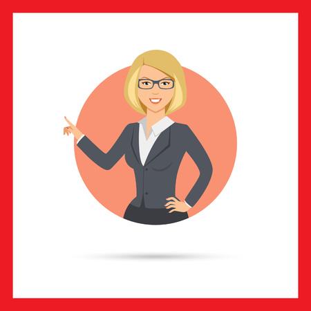 女性キャラクター、彼女の指で指している笑顔の実業家の肖像画  イラスト・ベクター素材
