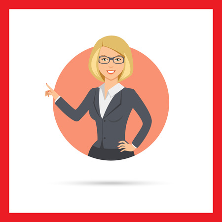 Female character, portrait of smiling businesswoman pointing with her finger