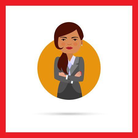 mani incrociate: Personaggio femminile, ritratto di donna d'affari con le mani incrociate sul petto