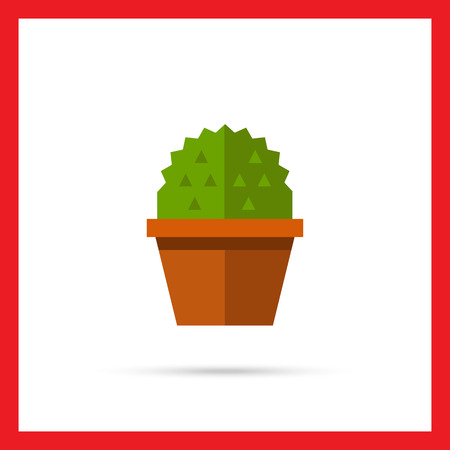 prickle: Multicolored vector icon of cactus in flower pot Illustration