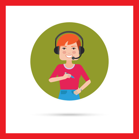 call center female: Female character, portrait of smiling call center operator wearing headset Illustration