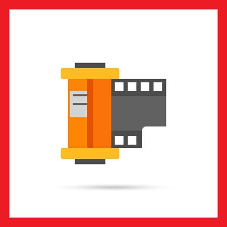 camera film: Multicolored vector icon of camera film roll