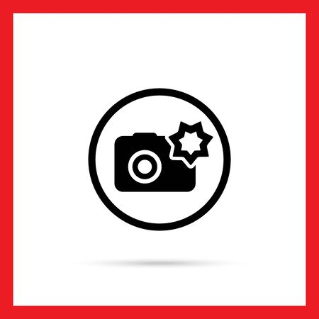 snapshot: Vector icon of snapshot camera with flash in circle