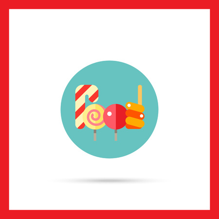 candy canes: Multicolored vector icon of candy canes and lollipops