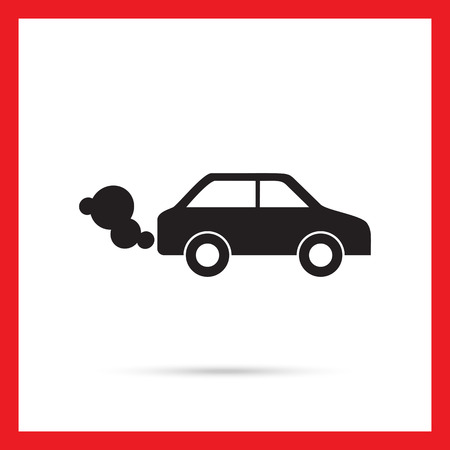 fumes: Vector icon of car emitting exhaust fumes Illustration