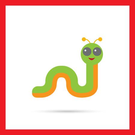oruga: icono de vectores multicolor de la oruga de la historieta sonriente