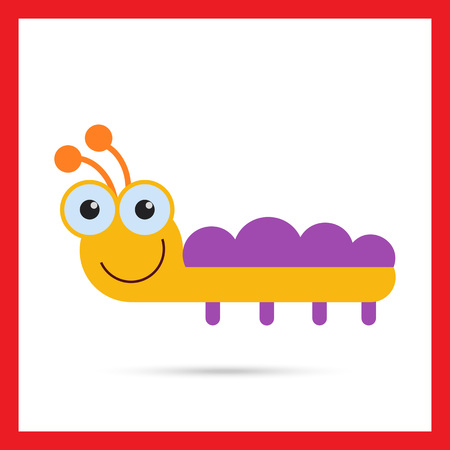 feeler: Vector icon of cute smiling cartoon caterpillar