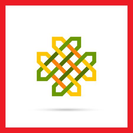 wicker: Multicolored vector icon of green Celtic ornament