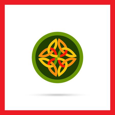 celtic: Multicolored vector icon of Celtic ornament in green circle
