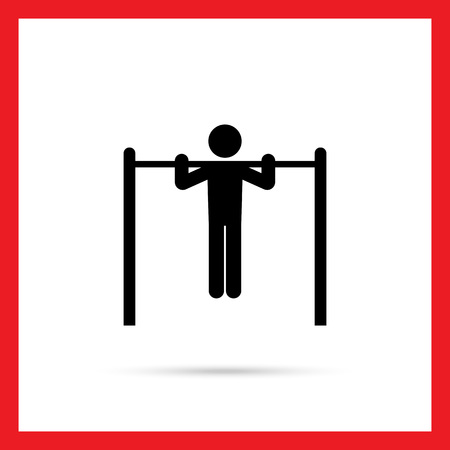 pullups: Icon of man silhouette doing pullups