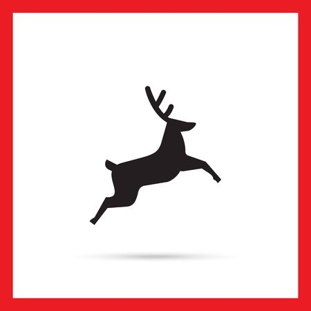 leaping: Vector icon of jumping festive Christmas reindeer